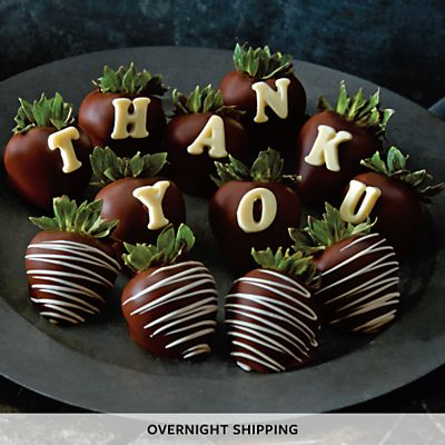 Send chocolate covered strawberries. Have gourmet chocolate-covered strawberries delivered to their door.