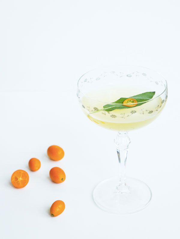 The Fortunate Few    2 oz gin  3/5 oz Yellow Chartreuse  1/2 oz Lillet Blanc  1/2 oz lemon juice  3 kumquats  1 sage leaf