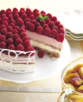 Raspberry and Peach Parfait Cake Recipe  at Epicurious.com