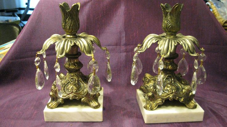 Ornate Victorian Candleholders/Flower Bobeches, Crystal Prisms, Marble Bases