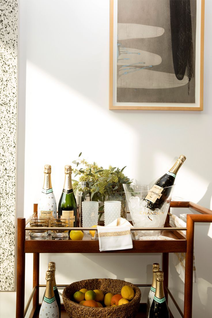 Dream at-home bar cart (filled with lots of Chandon bubbly, please!). (PS: Click through to learn how to win $1000 toward YOUR dream setup, courtesy of Chandon.) #ad
