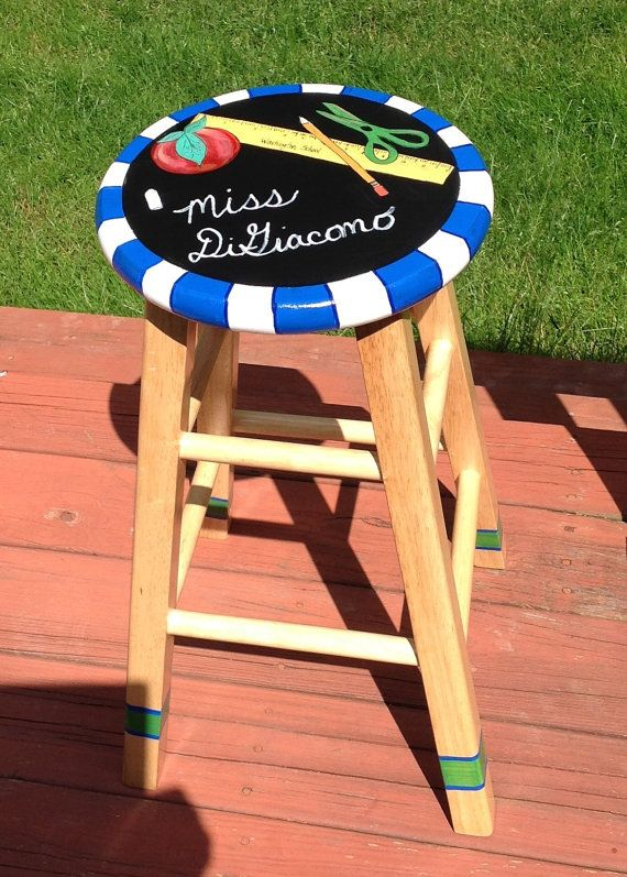 Custom hand painted 24 round stool  by paintingbymichele on Etsy, $130.00