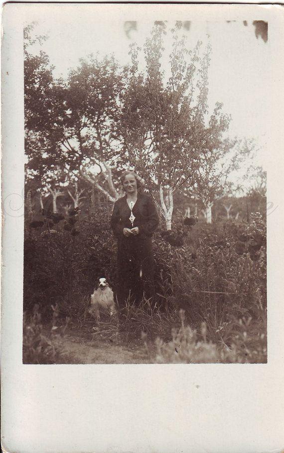 Vintage Photo  Woman Photo  Woman with dog  Garden
