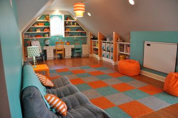 Using turquoise and orange for this gender neutral playroom brings a fun, energetic and cool atmosphere for kids of all ages
