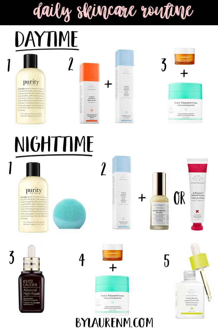 Daily Skincare Routine Daytime And Nighttime Skincare By Lauren M Nighttime Skincare Daily Skin Care Routine Night Skin Care Routine