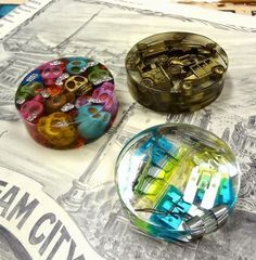 Resin Crafts: Paperweights With EasyCast Resin - great gift ideas for family with some of the girls favorite things inside.