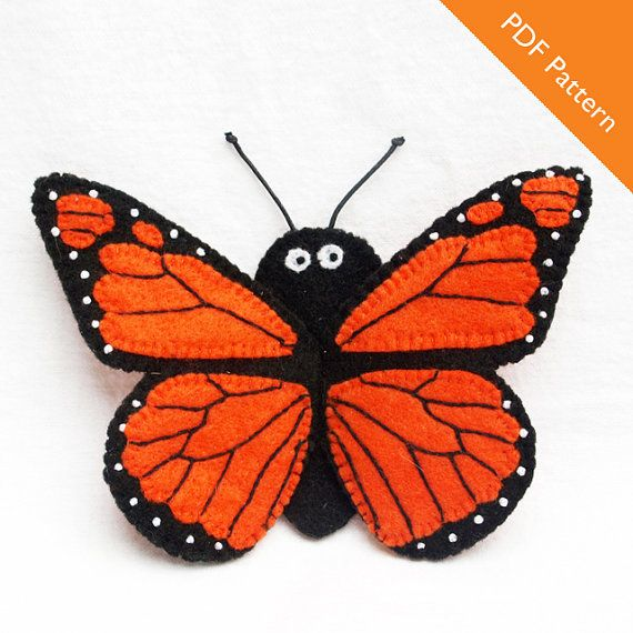This is a PDF pattern for a monarch butterfly finger puppet. The pattern contains step-by-step instructions and illustrations to show you how to complete your own little butterfly. This pattern is for personal use only or donation to nonprofit groups for sale or for display at