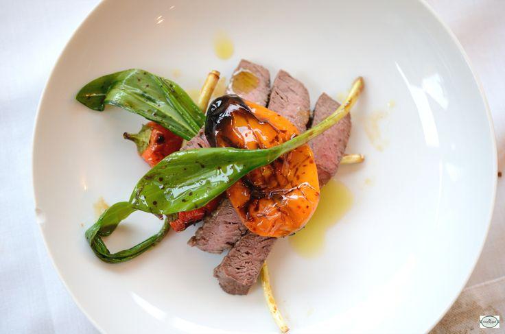 Steak, spanish pepper in balsamic vinegar marinade