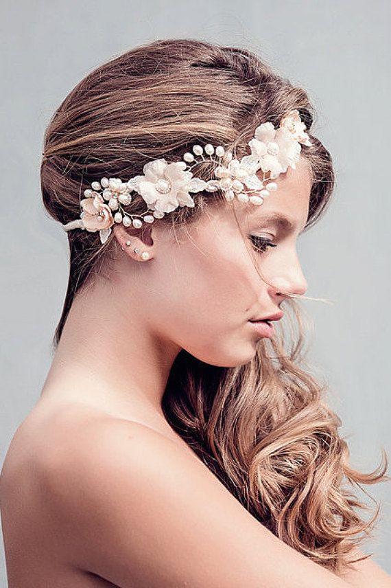 Rústico de boda flores corona - guirnalda de cabello de la novia - Boho nupcial casco, Rosalind el blush Bridal Halo casco #175