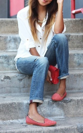 Pretty in pink rose colored loafers with blue jeans and a basic white button up.