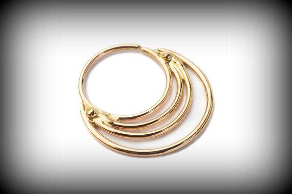 NOSE RING  SEPTUM 14k yellow solid gold  4 rings por studiolil