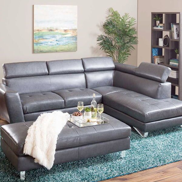 Sleek Contemporary Styling The Lucra Gray Bonded Leather 2 Piece Ratchet Back Sectional Is Sure To Add Fashion Leather Sectional Sectional Small Space Living