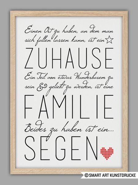 """""""FAMILIE IST EIN SEGEN"""" Kunstdruck von SMART ART Kunstdrucke ® auf DaWanda.com"""