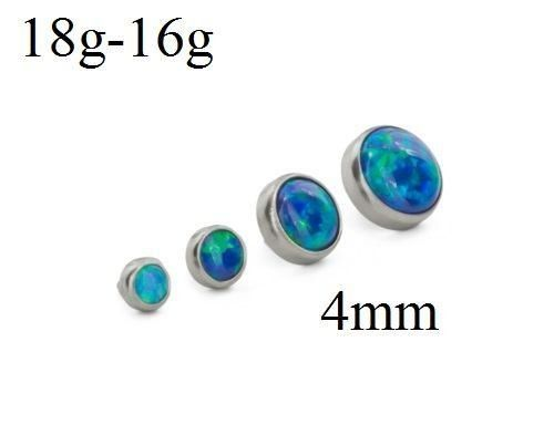 These 4mm flat opal tops for 18g or 16g internally-threaded body jewelry are available in 13 opal color options and 27 anodized titanium setting color choices. Pair these flat opal tops with labret studs, dermal anchors, surface barbells, and more.