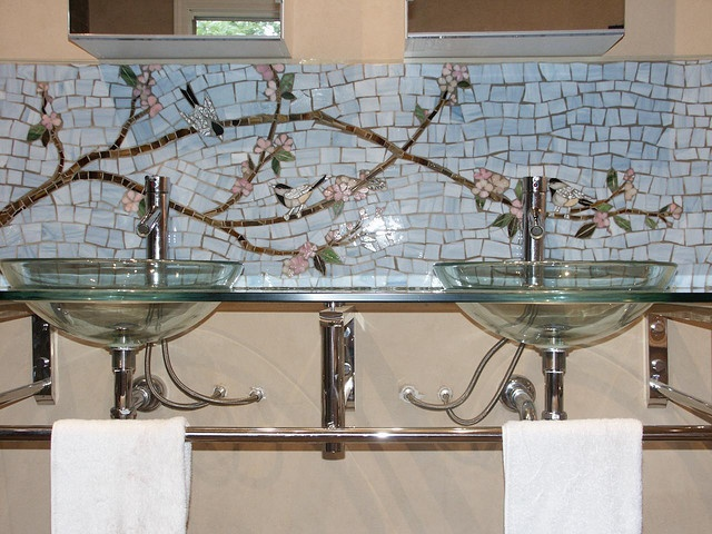 Mosaic Backsplash By Lori Desormeaux Mosaic Bathroommosaic Backsplashbacksplash Ideasmosaic