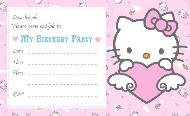Hello Kitty Printable Birthday Birthday Invitation for Kids