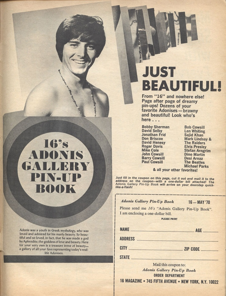 16 Magazine's Adonis Gallery Pin-Up Book — Bobby Sherman: Magazines Adoni, Galleries Pinup, Magazine Adoni, 16 Magazines, Adoni Galleries, Pin Up Books, Pinup Books, Bobby Sherman, Galleries Pin Up