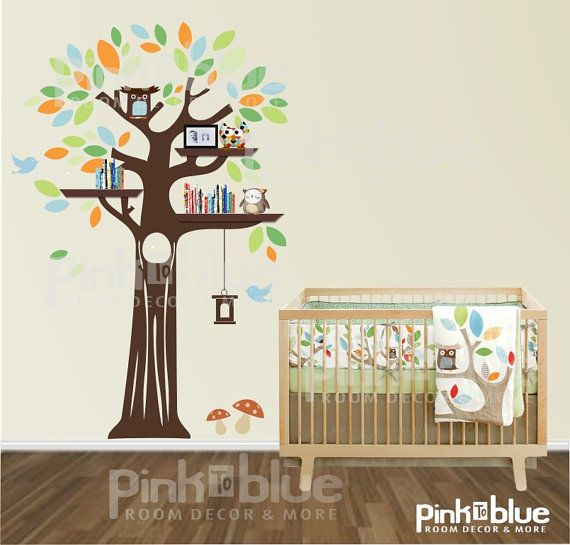 Nice TTree Wall Decal Tree With Shelves By PinkToBlueKids On Etsy, $98.00