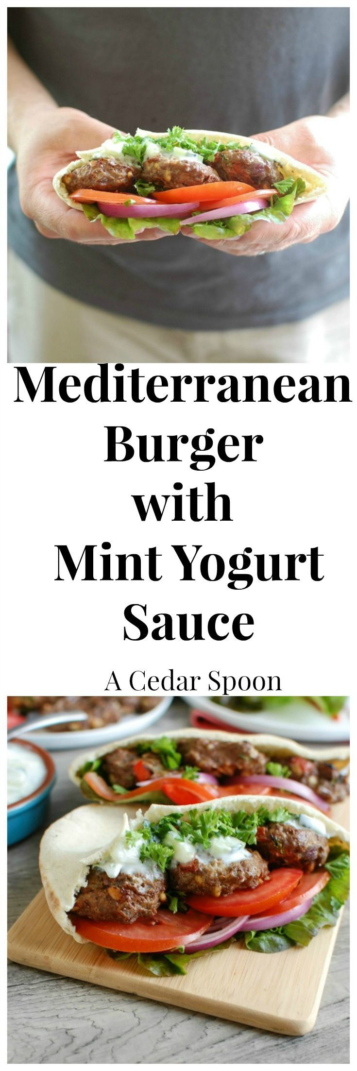 Mediterranean Burger with Mint Yogurt Sauce is a fun twist on traditional hamburgers using your favorite Mediterranean flavors and ingredients. This burger is served on a pita pocket with a flavorful tzatziki sauce.  Grilling season never tasted so good!// A Cedar Spoon