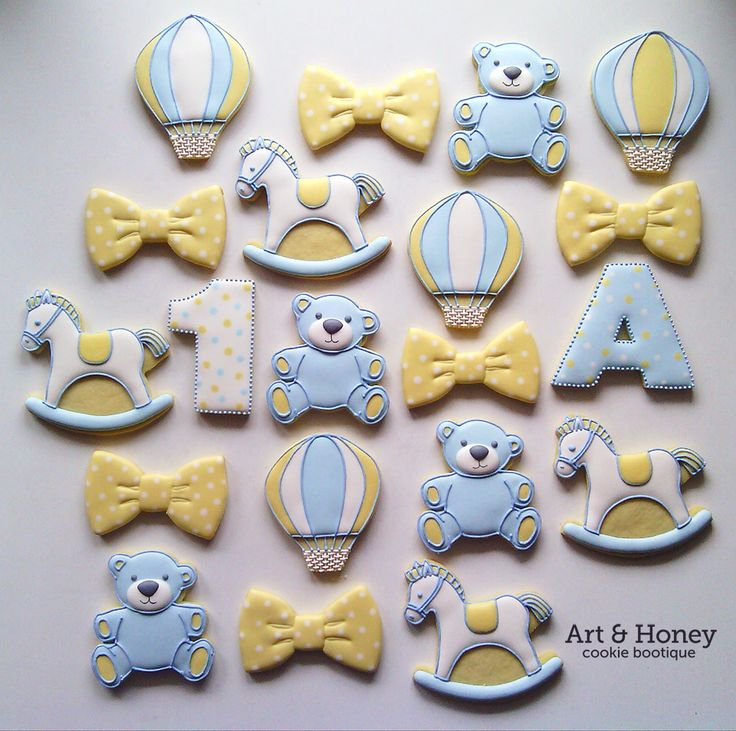 baby cookies~ By Art and Honey, Blue teddy bear, Yellow bow, white rocking horse, hot air balloon, number, letter