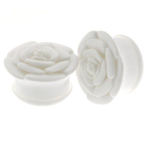 White Acrylic Single Flare Plug With Rose Design - Size: 0G (8mm) - Sold As A Pair WickedBodyJewelz - Plugs - Single Flare. $12.38