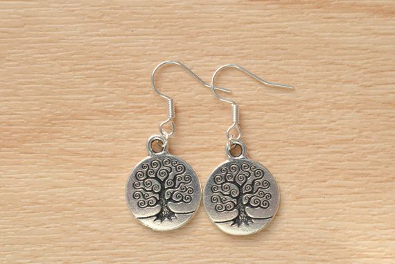 Silver Tree Earrings  Tree Of Life Jewelry  Small Dangle