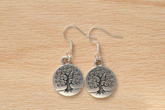 Silver Tree Earrings  Tree Of Life Jewelry  Small Dangle