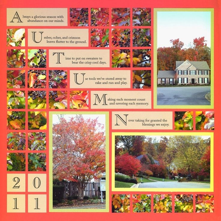 #Papercraft #Scrapbook #Layout.  Beautiful Page featuring Tangerine Grid Paper and Autumn Free Download.