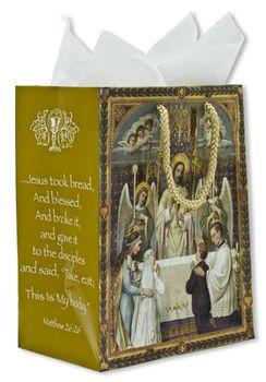 "Boy & Girl | First Communion Gift Bag | 9-1/4"""" x 7-3/4"""" | Matthew 26:26"