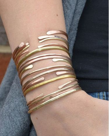 Set of Three Hammered Bangle Bracelets