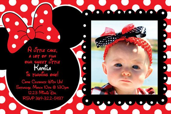 Custom Red and Black Polka Dot Minnie Mouse invitations or thank you cards by HeathersCreations11  Many options available!