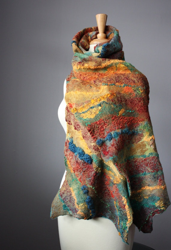Nuno felted scarf wool silk Rust, Green, Teal.