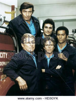 FIREHOUSE, (clockwise from top left): James Drury, Michael Delano, Bill Overton, Brad David, Richard Jaeckel, 1973 - Stock Photo