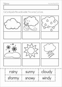 Weather unit for Preschool and Kindergarten. A page from the unit: Label the weather cut and paste activity