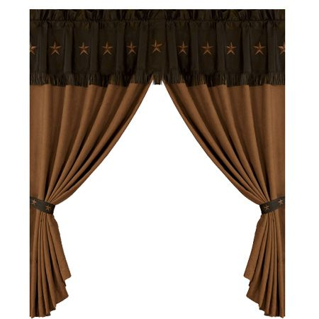 """Pair of Tan Laredo Star Western Curtains with Brown Valance 120 x 84"""""""