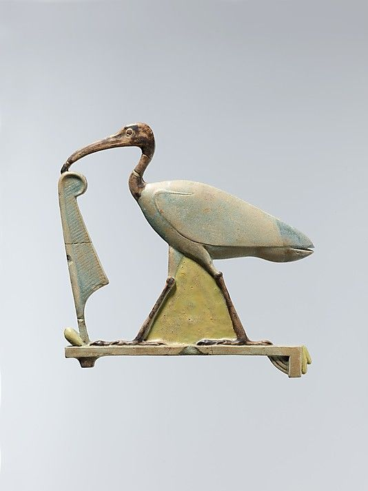 """Inlays in the form of the """"Horus of Gold"""",  falcon with spread wings and  Thoth as the ibis with a maat feather.  Period: Late Period–Ptolemaic Period Date: 4th century B.C. Geography: Egypt, Middle Egypt, Hermopolis (el-Ashmunein)  Medium: Faience, polychrome.  Metropolitan Museum of Art"""