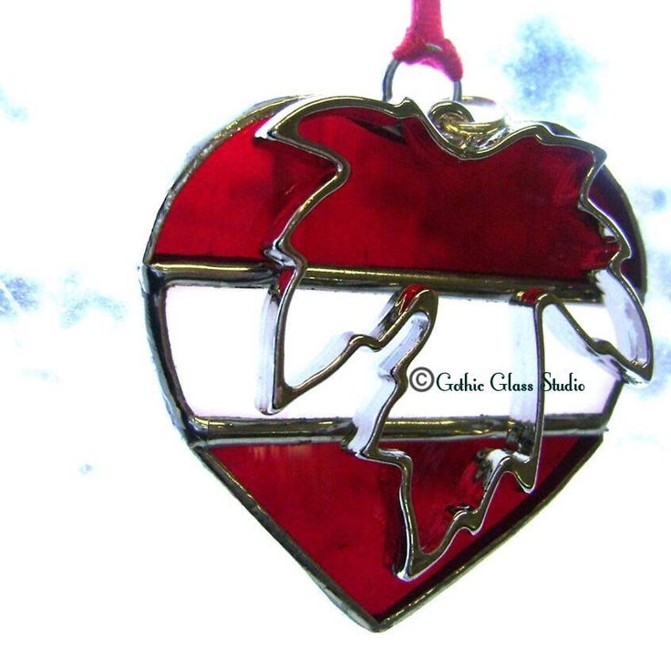 Originally designed stained glass Canada flag heart