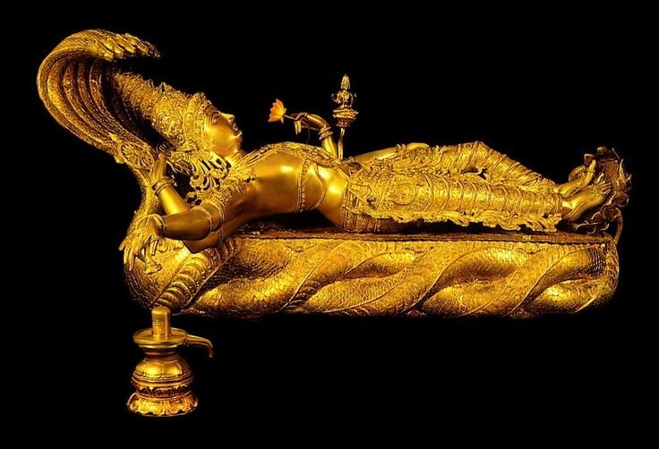 Lord Vishnu reclining on the great snake Anantha, from the treasure of Sri Anantha Padmanabhaswamy Temple in Tiruvananthapuram in Kerala state.