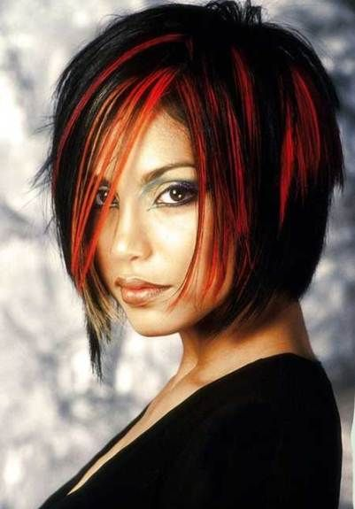 Red and Black Hairstyle-Short Hair with Highlights
