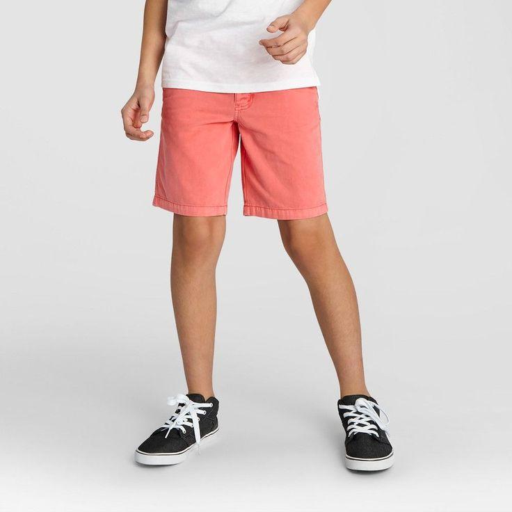 Boys' Flat Front Chino Shorts Cat & Jack Orange Spark 18