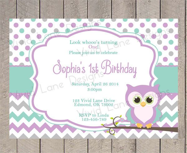 Owl First Birthday Invitation - Girl, Purple and Teal, Chevron, Polka Dots, 1st, 2nd, 3rd, Party, Girl Birthday, Printable - 5124 by VividLaneDesigns on Etsy https://www.etsy.com/listing/257513464/owl-first-birthday-invitation-girl
