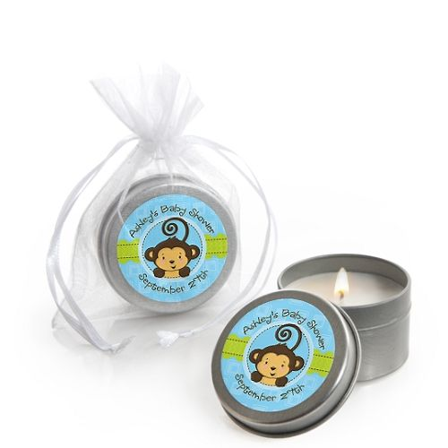 Monkey Boy - Candle Tin Personalized Baby Shower Favors $1.99