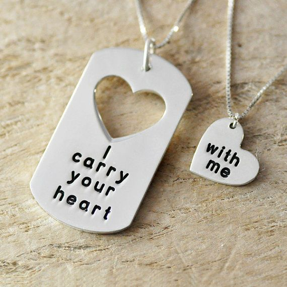 Sterling Silver-Personalized Couple Necklace Set -Taken Heart -Interlocking Heart - Gift-custom message