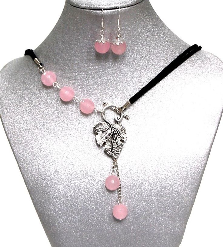 Natural Gemstones Rose Quartz Beaded Necklace Drop Earrings Chakra Fengshui USA #Handmade #ClusterPendantandDropEarrings                                                                                                                                                                                 Más