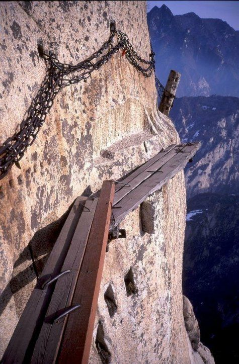 Mt Huashan - near Xi'an China.  Some of the most breathtaking views and no doubt exhilarating trail.