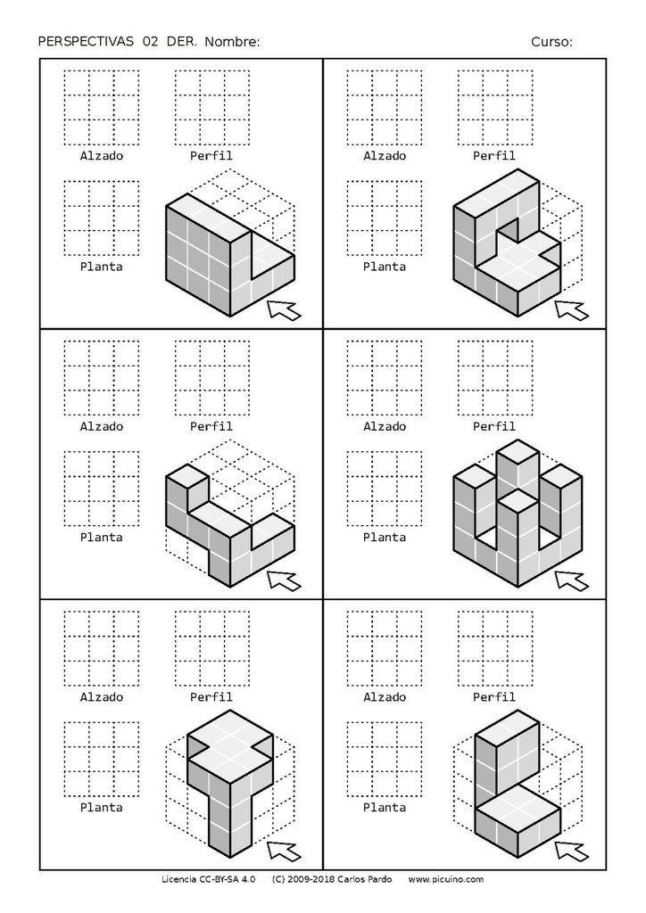 Ejercicios De Vistas Y Perspectivas Alzado Derecho Piezas Con Vistas Ocultas V01 Dibujos De Geometria Dibujo Perspectiva Vistas Dibujo Tecnico