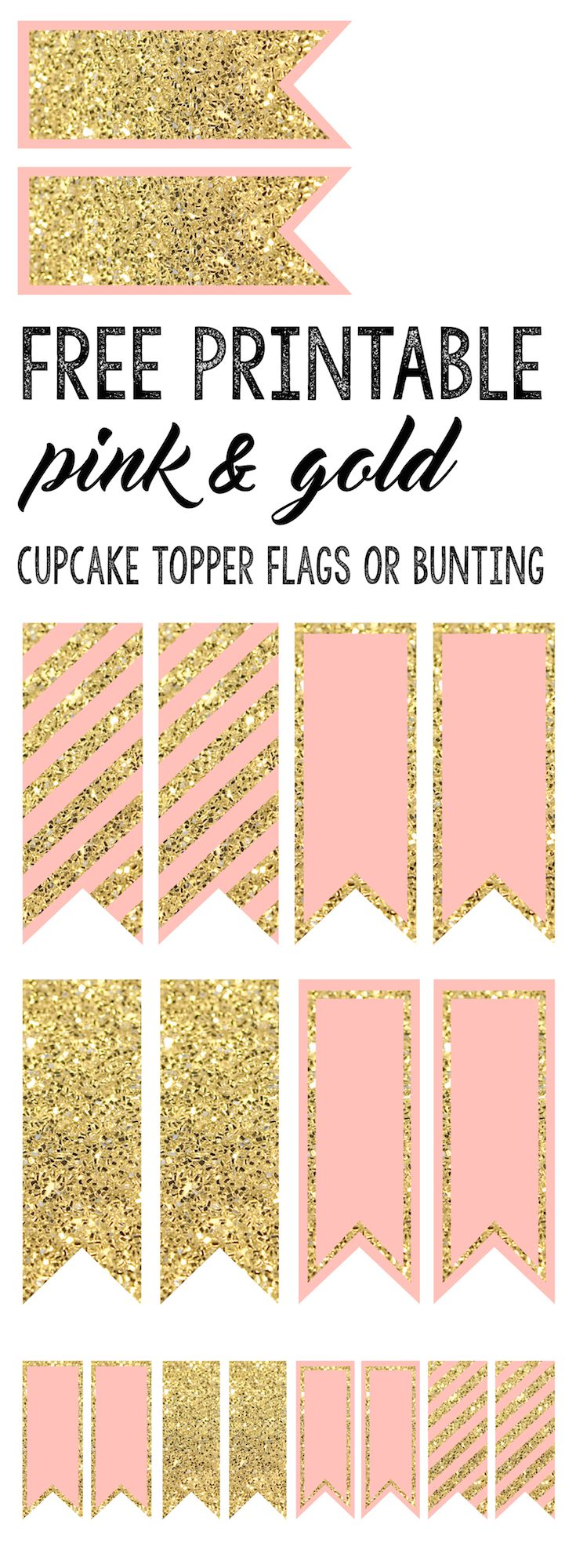 Pink and Gold Cupcake Topper Flags or Bunting. Free printable for a baby shower, wedding, bridal shower, or girl birthday party. Fun feminine theme.
