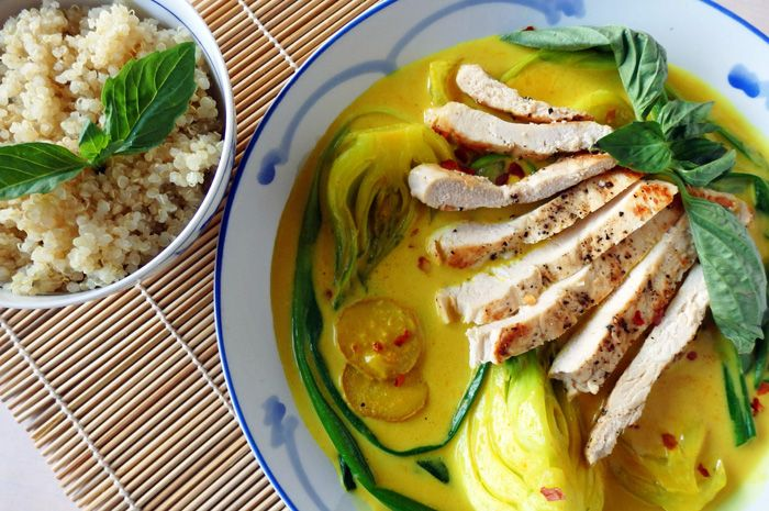 Grilled chicken with bok choy