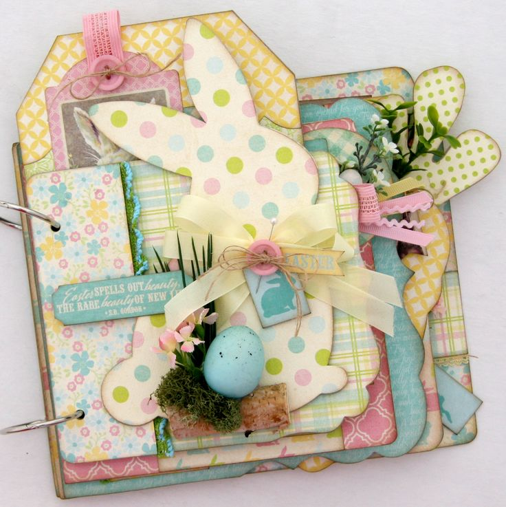 Adorable Easter/spring mini album kit from Paisleys and Polka Dots. Pre cut and ready to assemble.