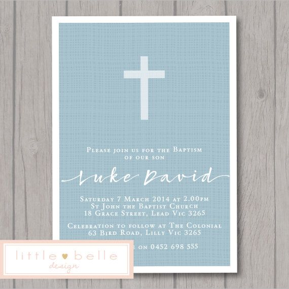 Boy Baptism Invitation Printable / Boy by LittleBelleDesign